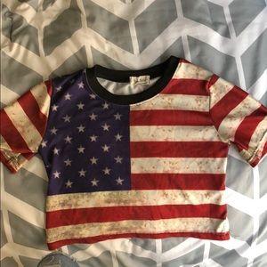 Tops - American flag crop top